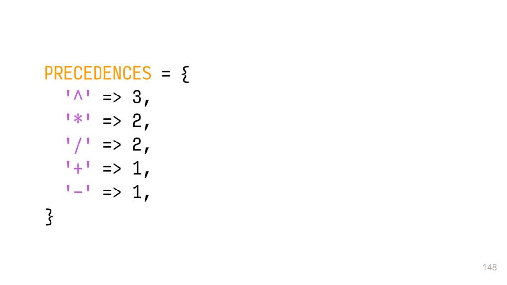 148 PRECEDENCES = { '^' => 3, '*' => 2, '/' => ...