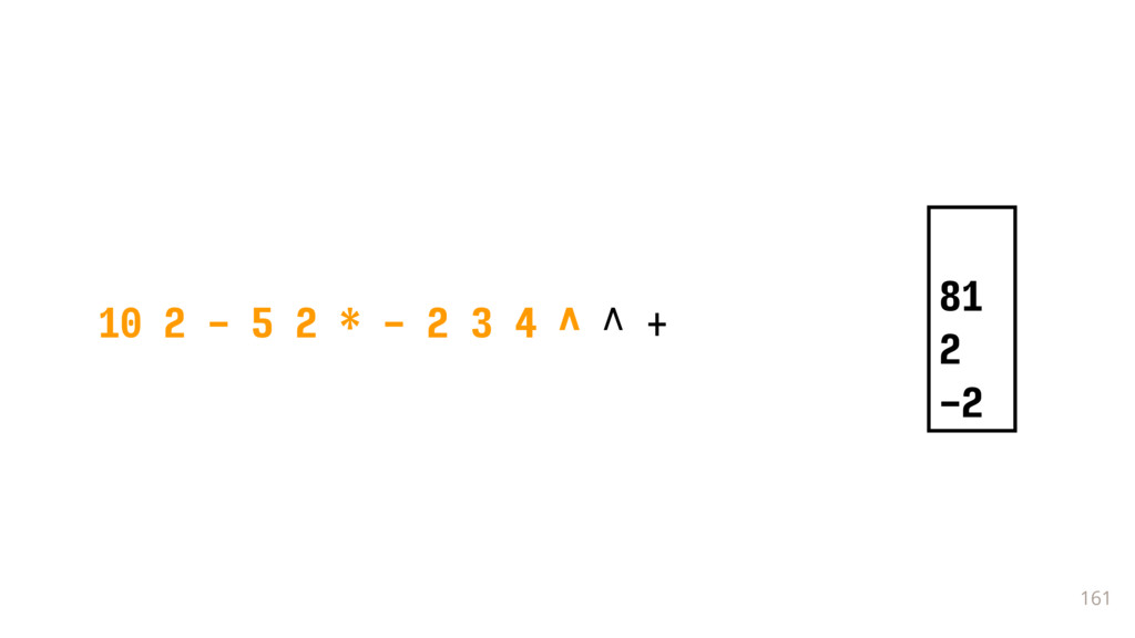 161 10 2 - 5 2 * - 2 3 4 ^ ^ + 81 2 -2