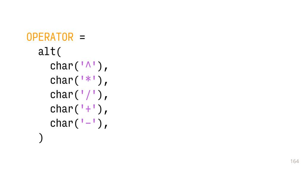 164 OPERATOR = alt( char('^'), char('*'), char(...