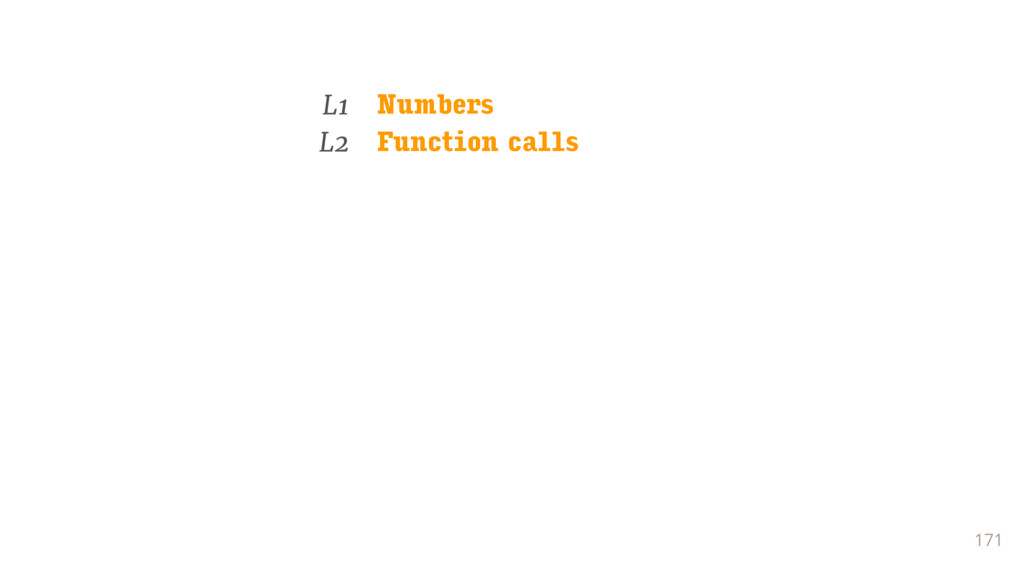 171 L1 Numbers L2 Function calls