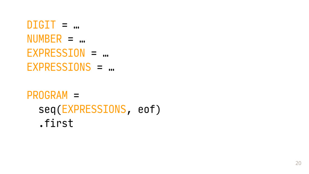 20 DIGIT = … NUMBER = …