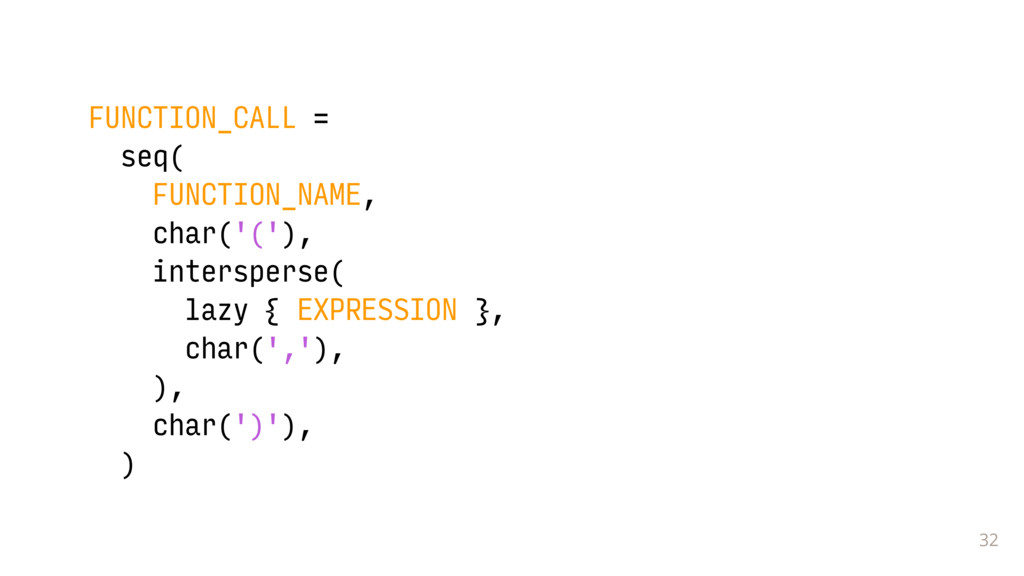 32 FUNCTION_CALL = seq( FUNCTION_NAME, char('('...