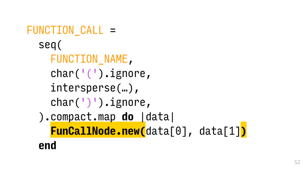 52 FUNCTION_CALL = seq( FUNCTION_NAME, char('('...