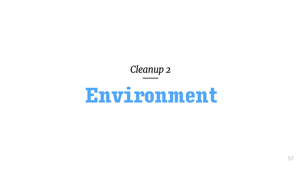 Cleanup 2 57 Environment