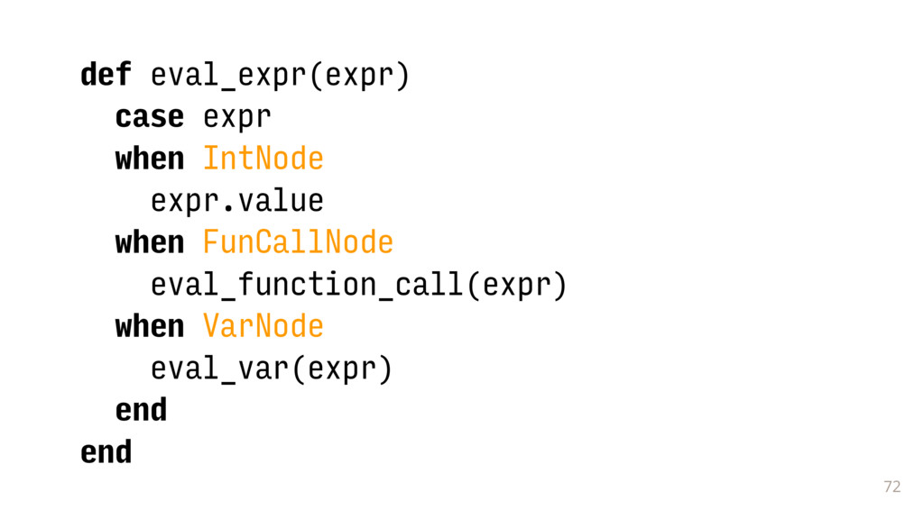 72 def eval_expr(expr) case expr when IntNode e...
