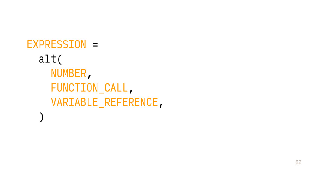 82 EXPRESSION = alt( NUMBER, FUNCTION_CALL, VAR...