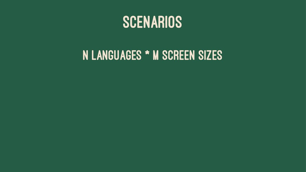SCENARIOS n languages * m screen sizes