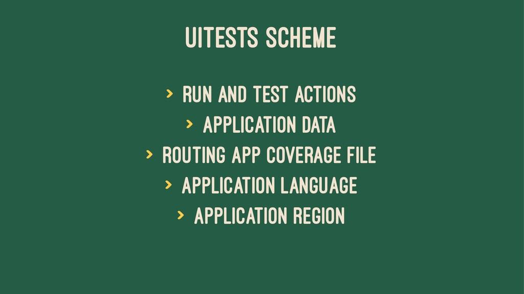 UITESTS SCHEME > Run and Test actions > Applica...