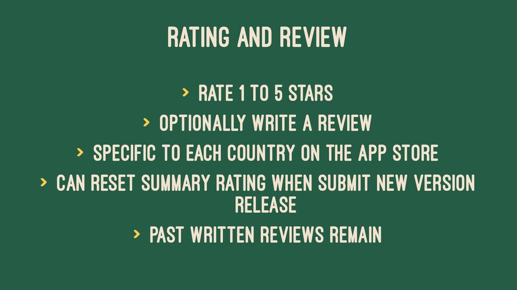 RATING AND REVIEW > Rate 1 to 5 stars > Optiona...