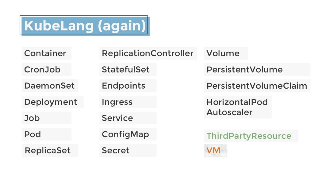 KubeLang (again) Container CronJob DaemonSet De...
