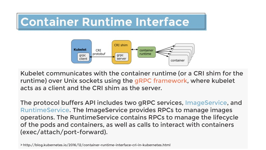 Container Runtime Interface Kubelet communicate...