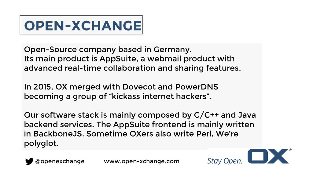 OPEN-XCHANGE Open-Source company based in Germa...