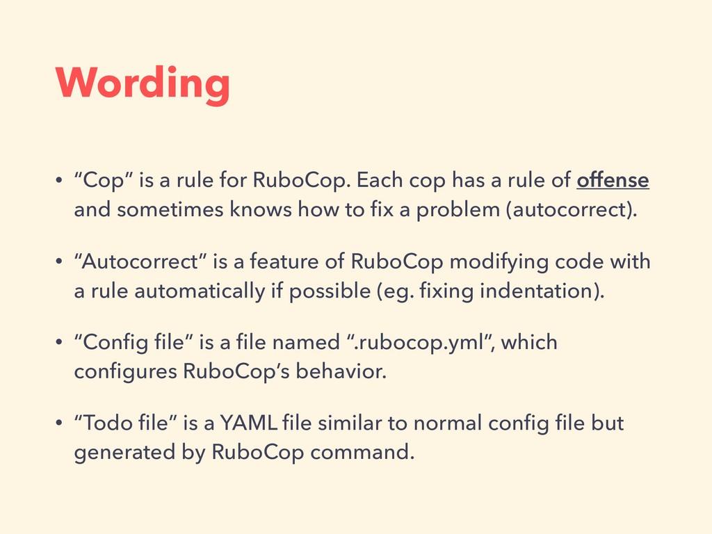 "Wording • ""Cop"" is a rule for RuboCop. Each cop..."