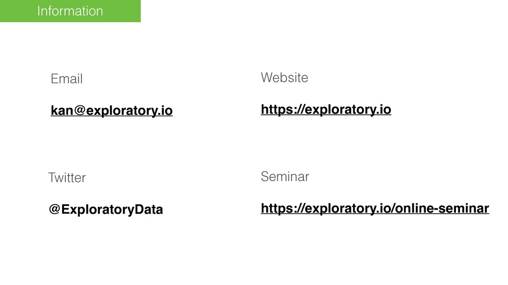 Information Email kan@exploratory.io Website ht...