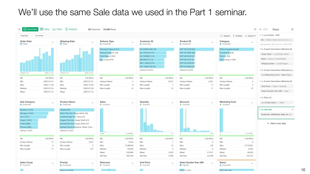 16 We'll use the same Sale data we used in the ...