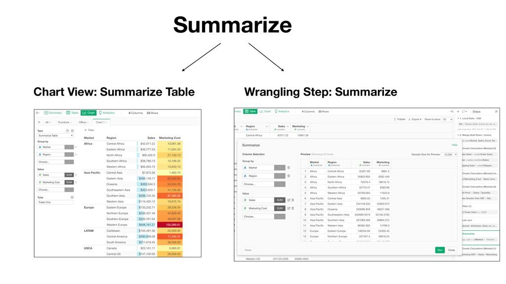 Summarize Chart View: Summarize Table Wrangling...