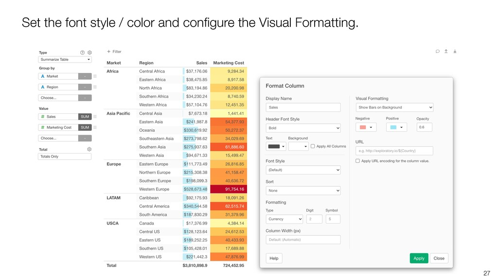 27 Set the font style / color and configure the ...