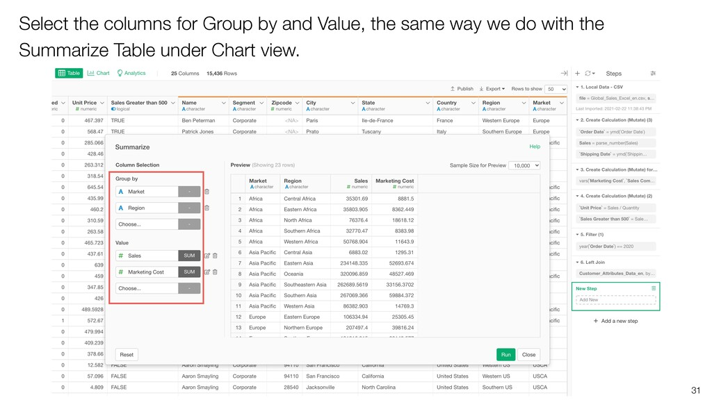 31 Select the columns for Group by and Value, t...