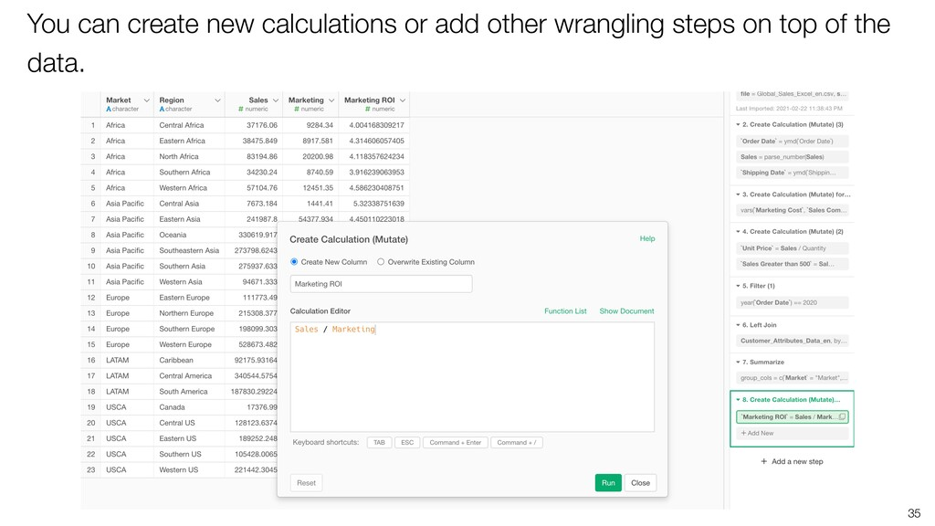 35 You can create new calculations or add other...