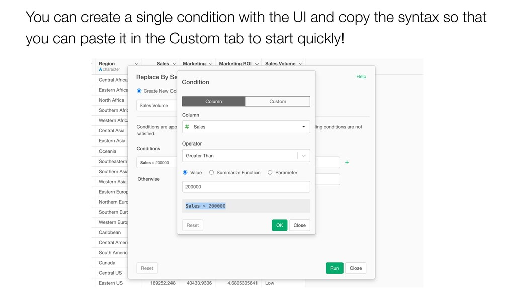 You can create a single condition with the UI a...