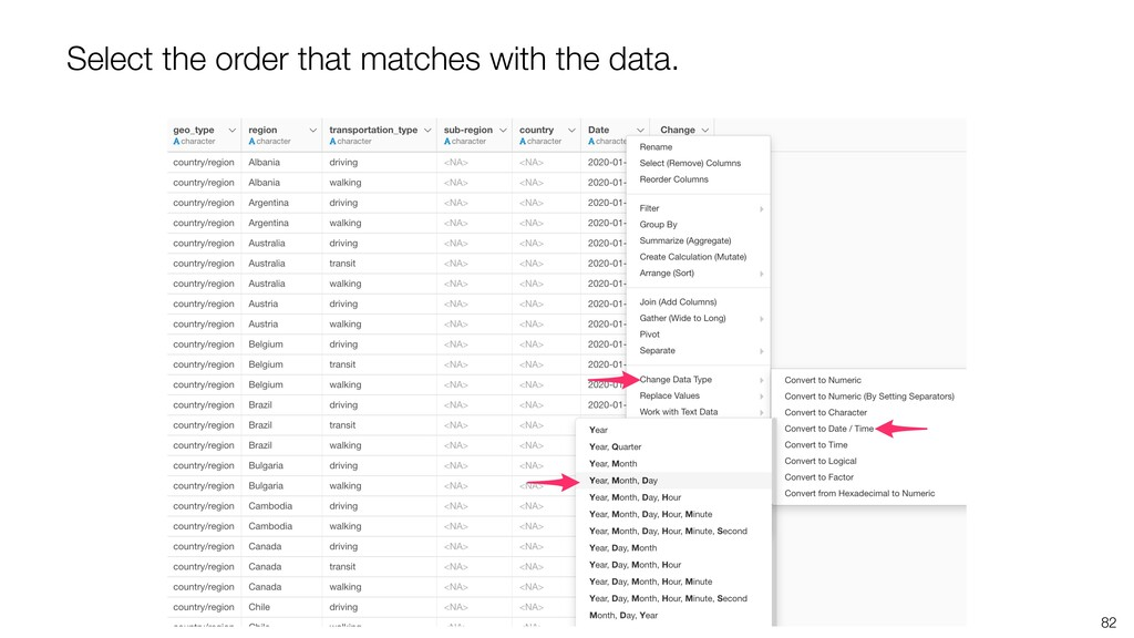 82 Select the order that matches with the data.