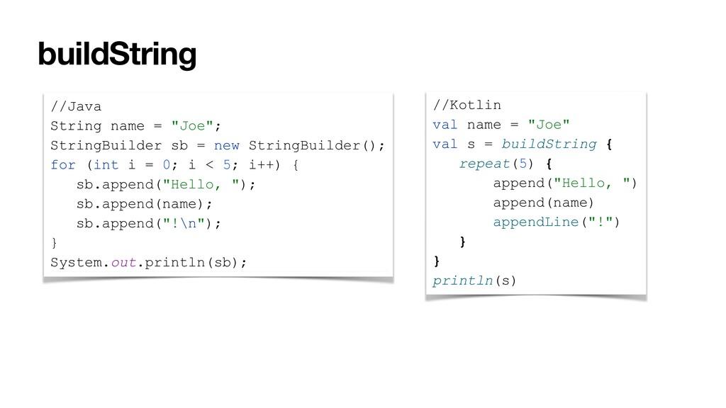 """buildString //Java String name = """"Joe""""; StringB..."""
