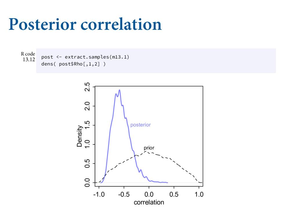 Posterior correlation ǿǢȀ B WFDUPS PG TUBOE...