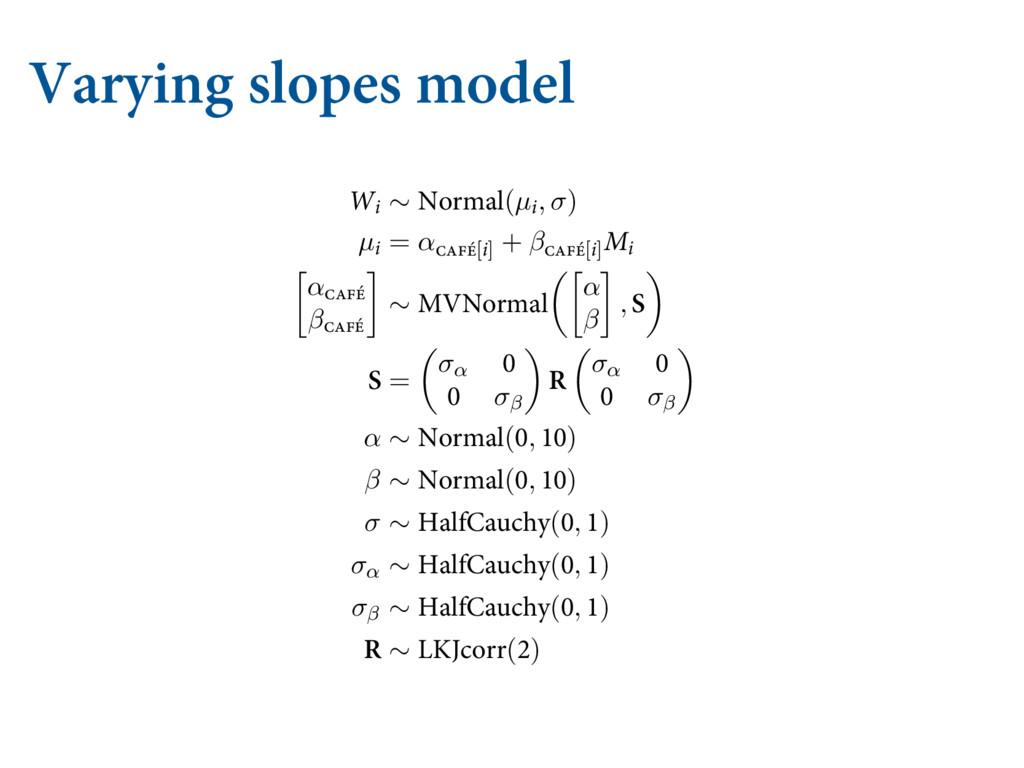 """Varying slopes model  7""""3:*/( 4-01&4 #: $0..."""