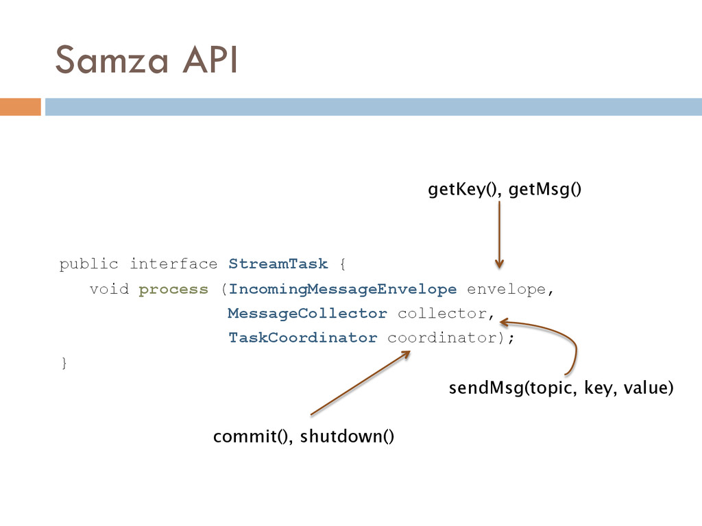 Samza API public interface StreamTask { void pr...