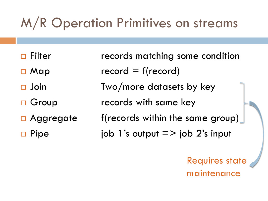 M/R Operation Primitives on streams ¨ Filter ...