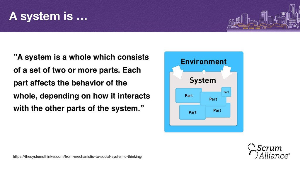 A system is … Environment System Part Part Part...