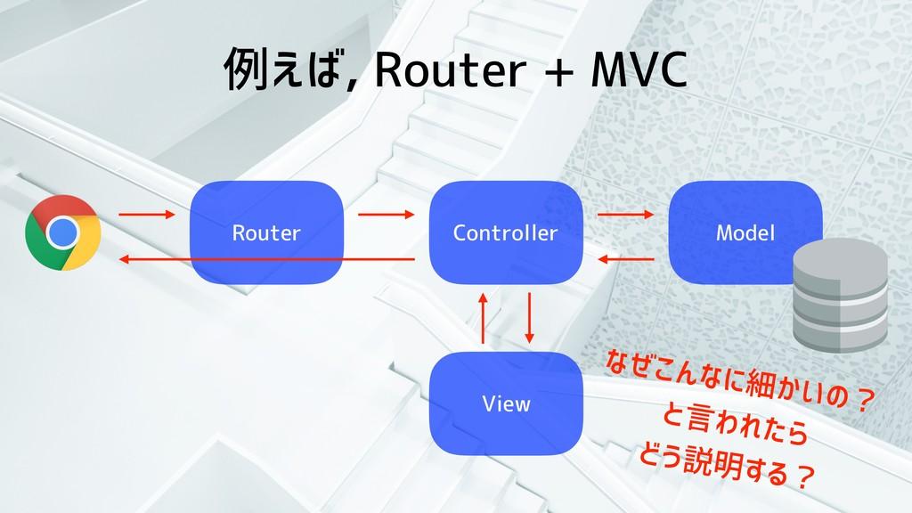 例えば, Router + MVC Router Controller Model View ...