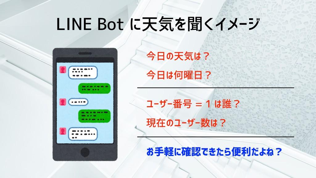 LINE Bot に天気を聞くイメージ 今日の天気は? 今日は何曜日? ユーザー番号 = 1 ...