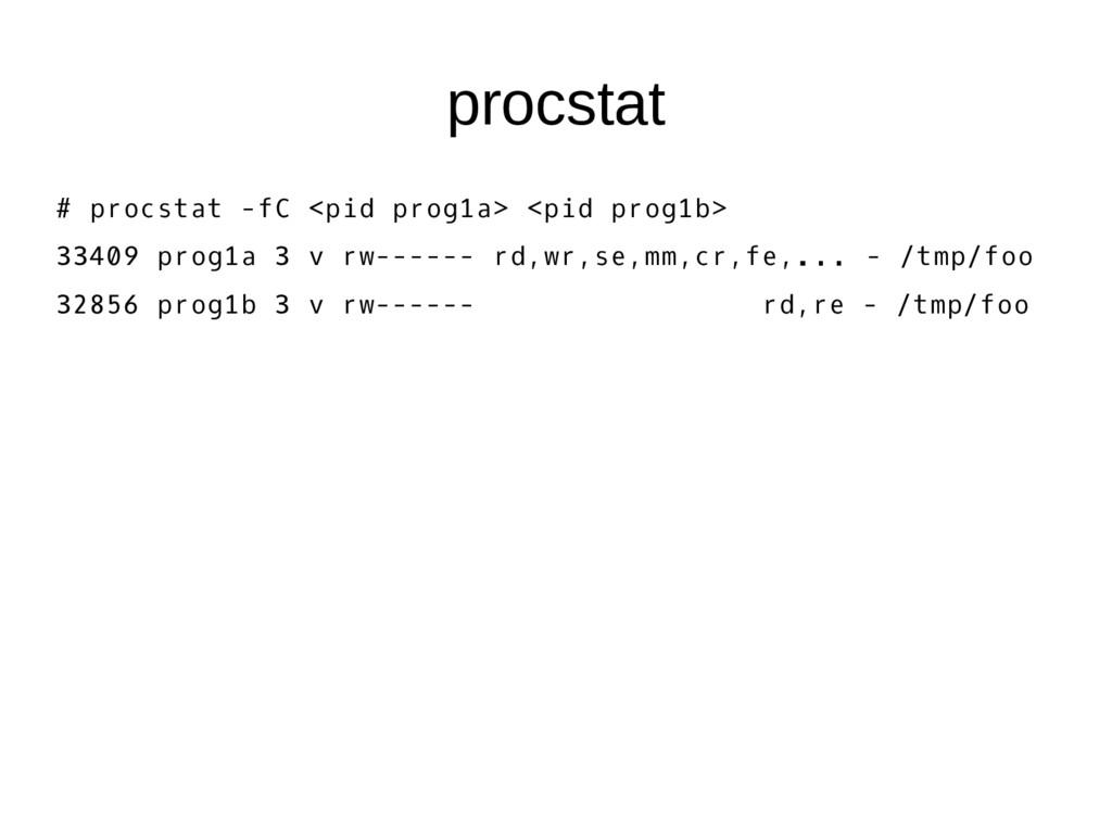 procstat # procstat -fC <pid prog1a> <pid prog1...