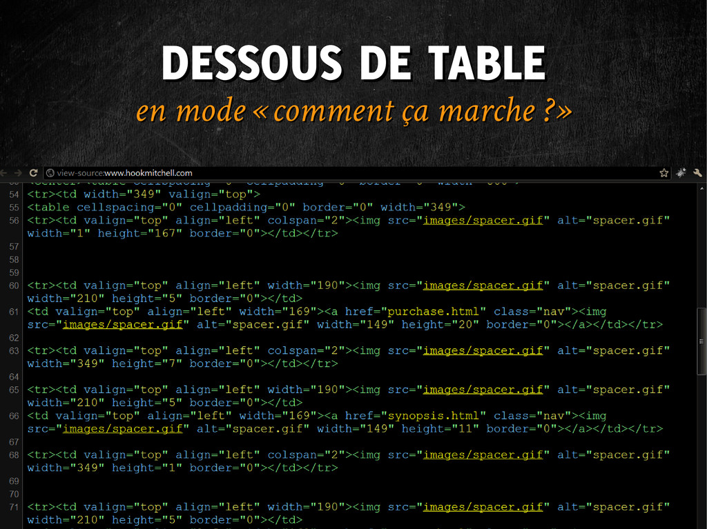 DESSOUS DE TABLE DESSOUS DE TABLE en mode « com...