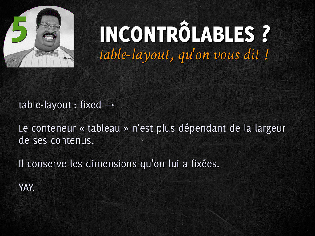 INCONTRÔLABLES ? INCONTRÔLABLES ? 5 5 table-lay...