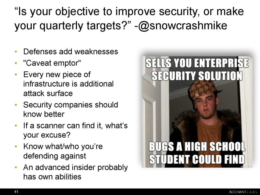 """""""Is your objective to improve security, or make..."""