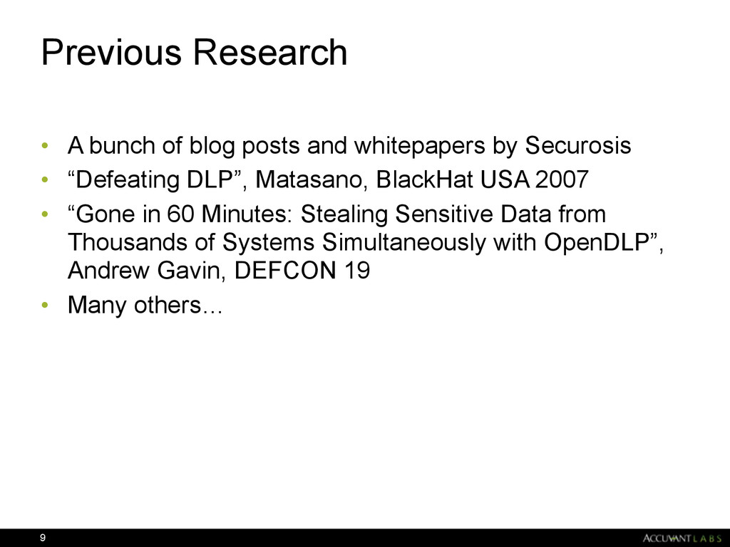Previous Research • A bunch of blog posts and w...