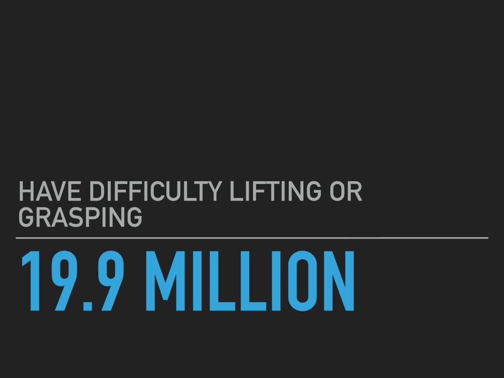 19.9 MILLION HAVE DIFFICULTY LIFTING OR GRASPING