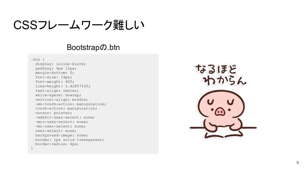 CSSフレームワーク難しい .btn { display: inline-block; pad...