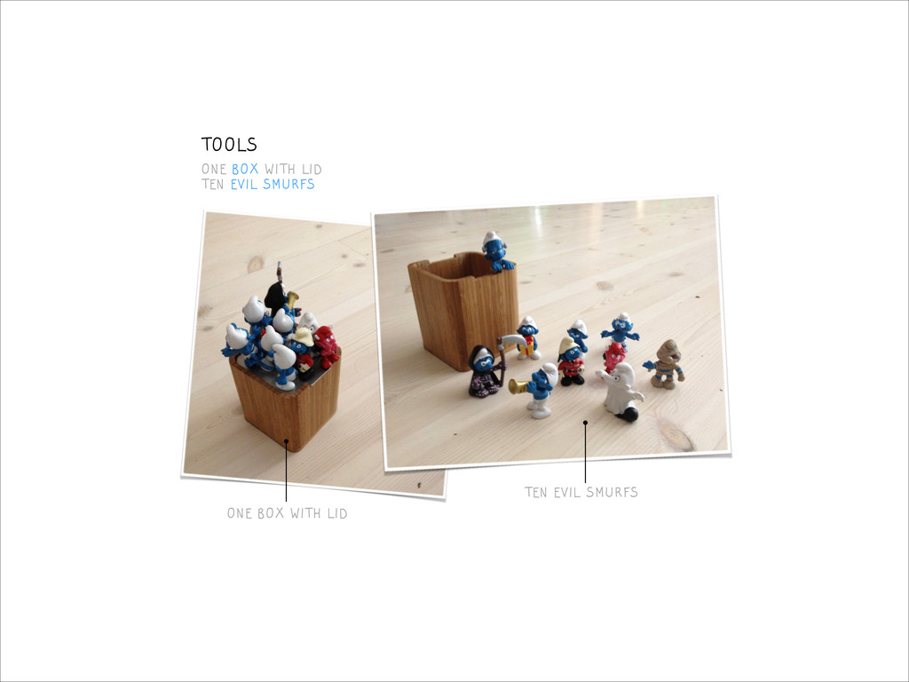 ONE BOX WITH LID TEN EVIL SMURFS ONE BOX WITH L...