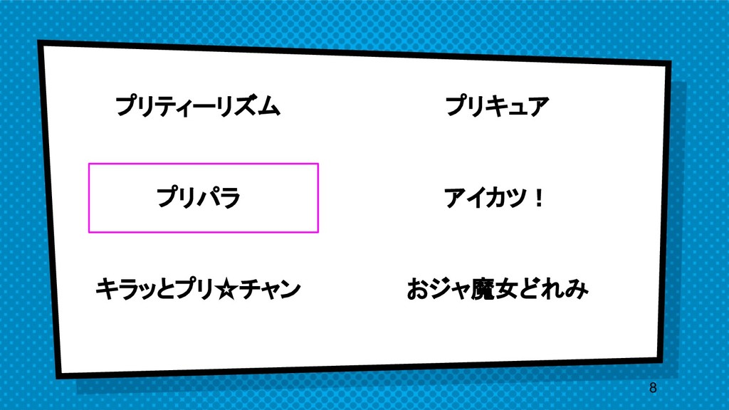 プリティーリズム プリパラ キラッとプリ☆チャン 8 プリキュア アイカツ! おジャ...