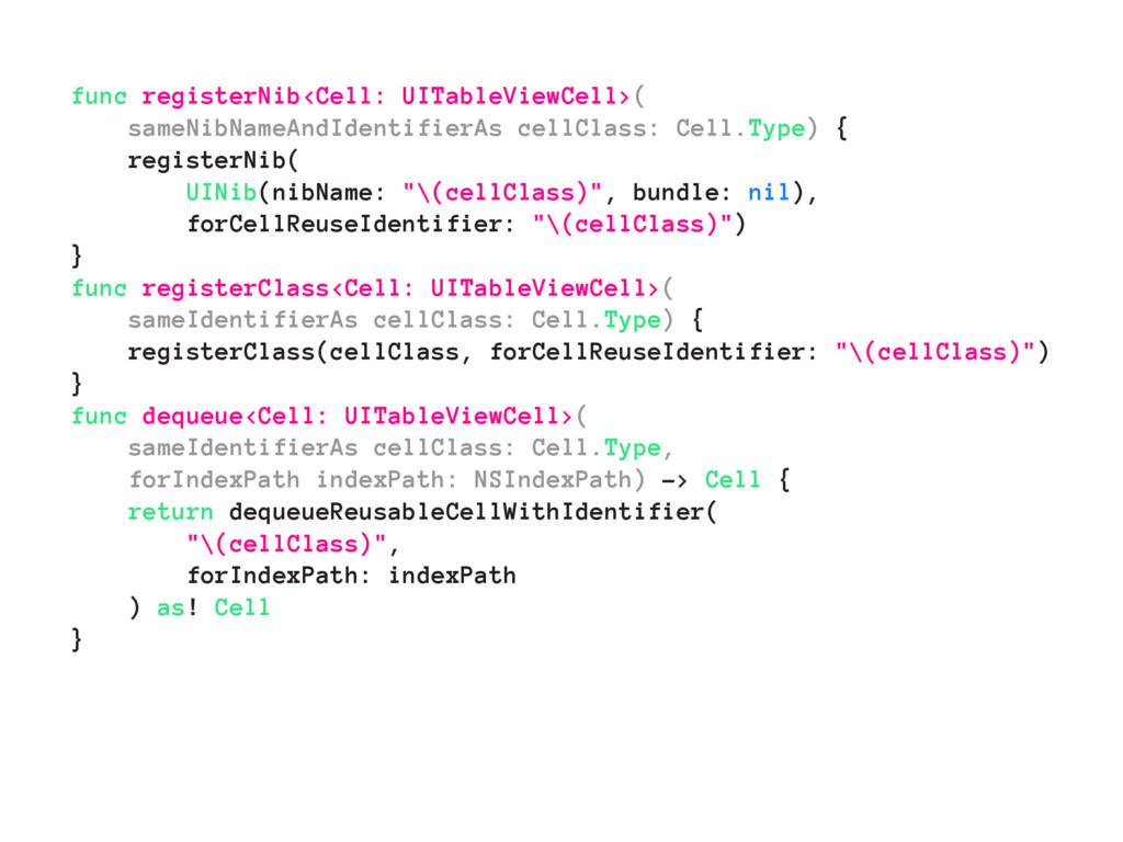 func registerNib<Cell: UITableViewCell>( sameNi...