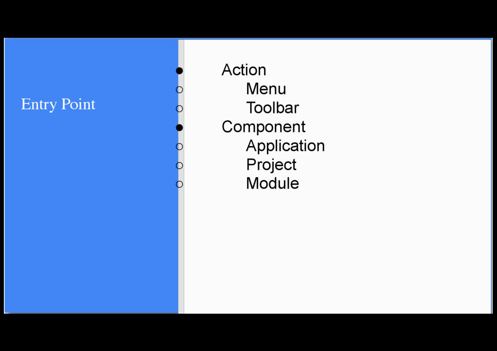 Entry Point ● Action ○ Menu ○ Toolbar ● Compone...