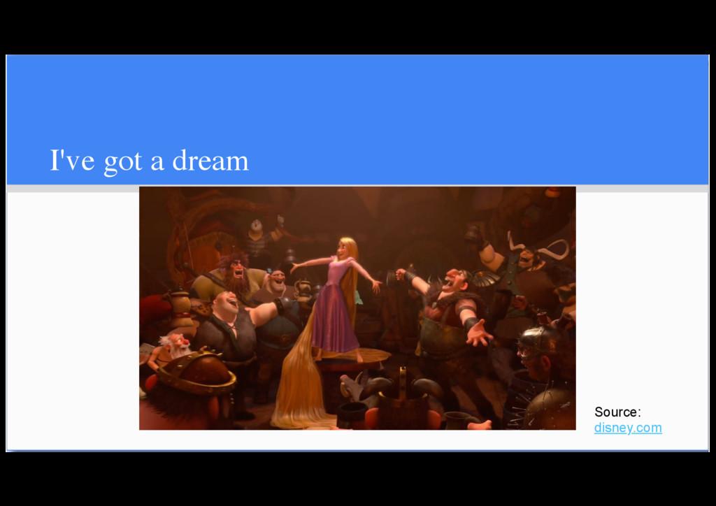 I've got a dream Source: disney.com