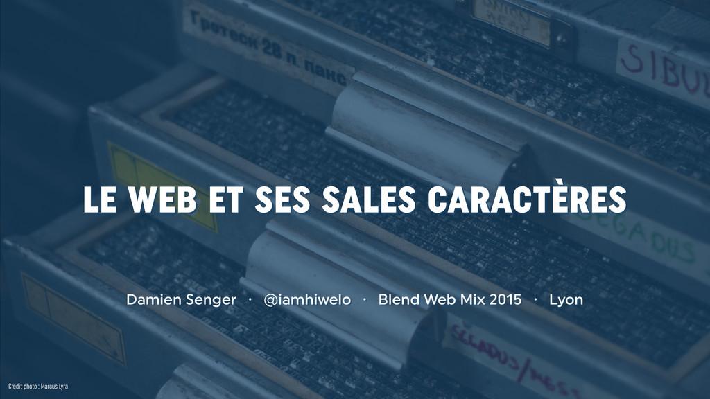 LE WEB ET SES SALES CARACTÈRES Damien Senger · ...