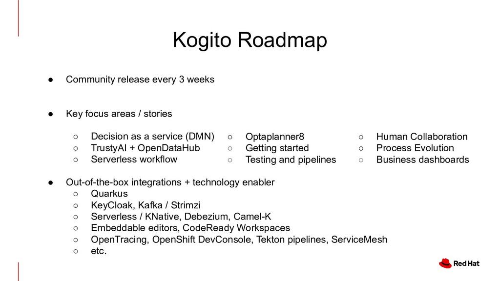 Kogito Roadmap ● Community release every 3 week...