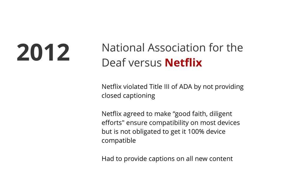 National Association for the Deaf versus Netflix...