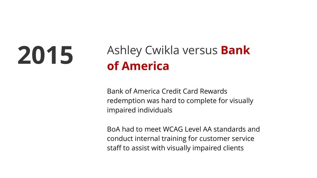 Ashley Cwikla versus Bank of America Bank of Am...