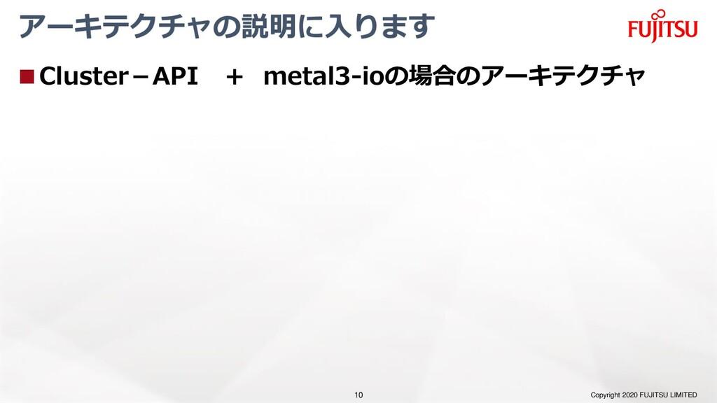 アーキテクチャの説明に入ります ◼Cluster-API + metal3-ioの場合のアーキ...